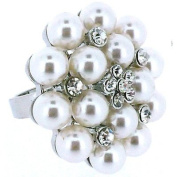 Pearl and Crystal Cluster Flower Cocktail Adjustable Ring