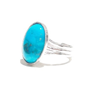 Turquoise Cabochon Ring - Adjustable 18 x 13mm