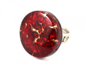 Murano Glass Ring - Chunky & Heavy 2.5cm Diam. - Red on Gold Leaf - Adjustable, One Size Fits All - Includes Gift Box