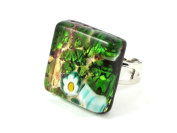 Murano Glass Ring - Square 2cm x 2cm - Green Shades on Gold Leaf with Millefiori Flower - Adjustable, One Size Fits All - Includes Gift Box