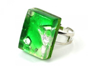 Murano Glass Ring - Rectangular 2cm x 1.5cm - Green on Silver Leaf - Adjustable, One Size Fits All - Includes Gift Box