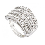 Hollywood Apex Adjustable Ring by Gemini London. Crystal and Rhodium Plated Silver Finish.
