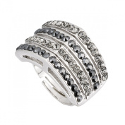 Hollywood Apex Adjustable Ring by Gemini London, AB Black & Black. Crystal and Rhodium Plated Silver Finish.