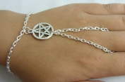 Pentagram Slave Chain Hand Harness Silver Plated Bracelet ~ Goth Witch Pagan