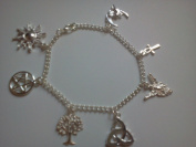 Pagan - Pentacle, Ankh, Sun, Moon & Hare, Triquetra ,Goddess Tree of Life Charm Silver Plated Bracelet