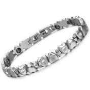 OPK Ms. Love Rhinestone CZ & Energy Magnetic Stone Anti-Fatigue & Radiation Titanium Bracelet Bangles Best Gift!