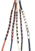 Tribe Cotton Friendship Bracelets with Oval Wooden Beads x 6