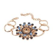 Designsix Bracelet Gold Coloured with Dark & Light Blue Stones