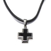 Leather Necklace with Stainless Steel Cross Pendant