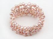 3 Strand Pink Freshwater Pearl Wrap Bangle Bracelet