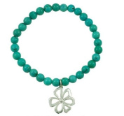 Sterling Silver Turquoise Bead Stretch Bracelet With Flower Charm