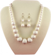 Jay Jewellery - White Graduated Bead Necklace with matching earring