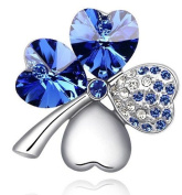 Elegant Silver & Royal Blue / Sapphire 4 Leaf-Clover Jewellery Brooch Pin BR137