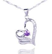 Aokeshen Dazzing Clear Crystal CZ Amethyst Love Heart Dangle 925 Sterling Silver Necklace Pendant SD214