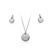 Fashion Plaza Rhodium Plated First Love Engraved Necklace and Earring Etenal Love Set S84