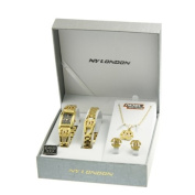 LADIES WATCH GIFT BIRTHDAY NECKLACE BRACELET EARRINGS SET PENDANT WOMENS GIRLS GOLD WHITE