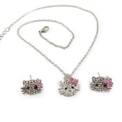 """Necklace set """"Hello Kitty""""white rose (necklace + earrings)."""
