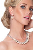 Entrancing Sparkling Plated Pearl Choker and Earring Jewellery Set - 2010SNTL