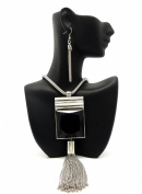"""New Modern Silver Faceted Black Square Stone Drop Chain Necklace and Earring Set w/ 5mm 24"""" Snake Chain DS1011RDBLK"""