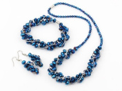 Beautiful Blue Crystal Beaded Matching Necklace, Bracelet and Earring Set