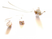 Alice in Wonderland Gold Leaf Ceramic Drop EARRINGS and Teapot NECKLACE with Gift Box