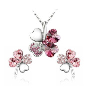 . Elements Pink Crystal Four Leaf Clover Love Heart Jewellery Set Earring And Pendant Necklace '16 - 46cm Chain