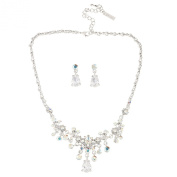 Gemini London Jewellery's Elegant CZ Stone Necklace and Earring Set made with AB. Crystals and Cubic Zirconia, Nickel Free, Rhodium Plated, Silver Effect Finish