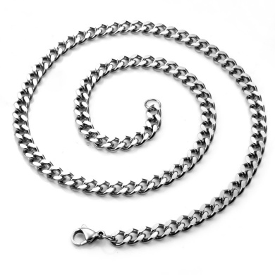 "JewelryWe Mens 316L Stainless Steel Chunky Curb Chain Link Necklace - Length 20"" And Width 6mm"