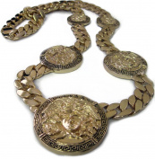 Mens XL 5 Medusa Head Miami Cuban Link Chain 14K Gold Plated HipHop Bling Chain