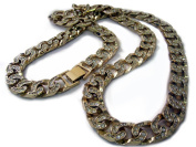 Mens XL FULLY ICED 90cm Miami Cuban Link 14K Gold Plated HipHop Bling Chain