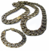 Mens XL FULLY ICED Miami Cuban Link Gold Plated HipHop Bling Chain & Bracelet Combo