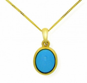 9ct Yellow Gold Ladies' Turquoise Oval Rub Over Pendant on 46cm Curb Chain