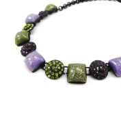 """Necklace 'french touch' """"Sissi"""" purple green."""