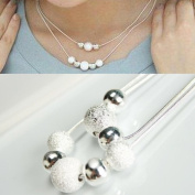 TopstaronlineTM Silver matte balls and polishing balls Double Layer Necklace