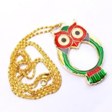 OWL Pendant Magnifier Magnifying Glass Necklace