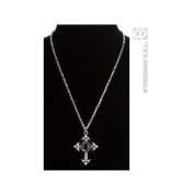 Gothic Cross Necklace withBlack Gem Gothic Jewellery for Fancy Dress Costumes Accessories Accessory