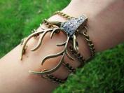 Jirong Vintage Style Antique Bronze Deer Antler Pendant Women Jewellery Bangle Chain Cuff Bracelet SL2270