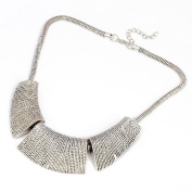 Comeonbuying Vintage Silver Plain Vein Patterned Trapezoidal Pendant Necklace