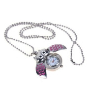 Cute Mini Owl Pocket Watch Necklace--Silver and Pink