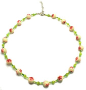 Light Green Fimo Bead Wire Necklace