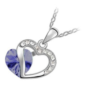 18K White Gold Plated, Aquamarine Blue and Clear. Crystal Elements, Heart Pendant Necklace, 46cm