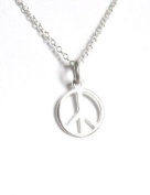 Midor925 925 Sterling Silver Peace Sign Pendant Necklace Md00321N In Gift Box