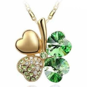 18k Yellow Gold Plated Four Leaf Clover with. Elements Good Luck Created Peridot Pendant Necklace with Cubic Zirconia Accents St. Patrick's Day
