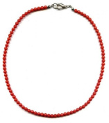 Necklace 45 cm made of 2 mm red coral beads