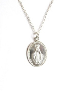 Midor925 Sterling Silver *Miraculous Medal*Pendant Necklace 46cm .Md00267N In Gift Box