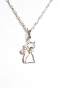 Midor925 Sterling Silver cute *Pussy Cat*Pendant 46cm Necklace.Md00264N In Gift Box