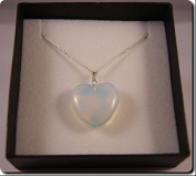 Opalite Gemstone Heart Necklace with Sterling Silver Chain - Gift Boxed