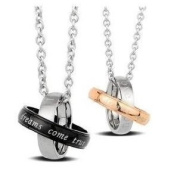 "New Stainless Steel ""Dreams Come True"" Couples Pendant Necklaces Set 50cm 45cm Chains With Gift Box"