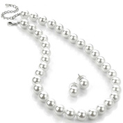Ladies 12mm faux white pearl necklace earring costume jewellery set