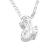Sterling Silver Cubic Zirconia Irregular Shape Fancy Pendant / Necklace with 16' Silver Anchor Chain